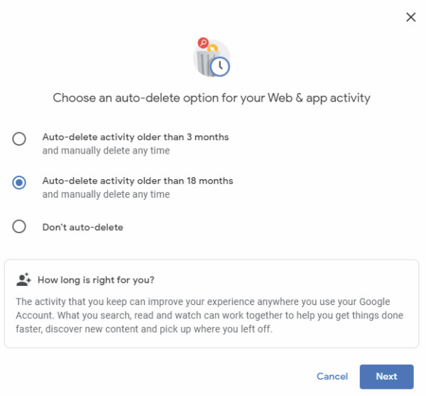 Auto-delete your Google activity